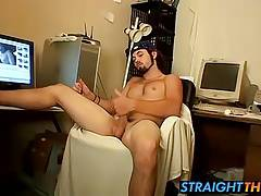 Bam gets horny and jerks dick while in the office