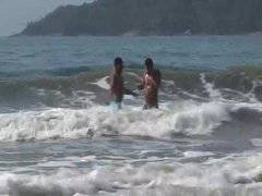 Brazilian studs enjoy some beachside anal