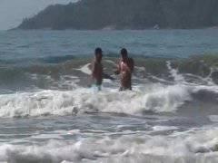 Brazilian studs enjoy some beachside anal