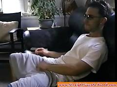 Jerking off latin hunk receives some help from DILF