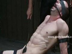 Gay master tortures bound slave