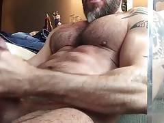 Muscle daddy solo masturbation