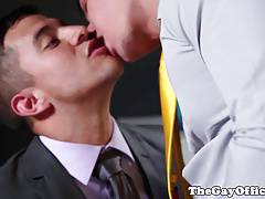 Office tattooed hunks sucking and assfucking