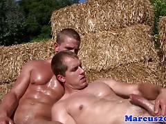 Strong hunks outdoors sucking throbbing dick
