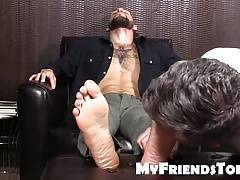 Sexy hunk Tino getting a hot foott massage and toes licked