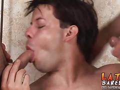 Cock hungry latino trio enjoying a festive bareback sex orgy
