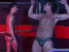 Muscular hunk teased and sucked while cuffed