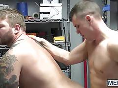 Football captain Darin Silvers fucks school janitor Colby