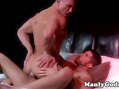 Muscular hung studs sensual bedroom fucking