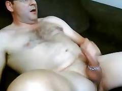Hot daddy stroking with cock ring