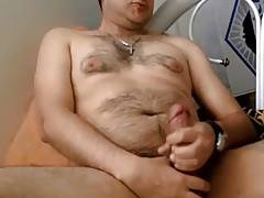 Very cute hairy cub jerking off