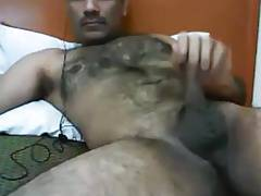 Hairy arab bear jerking off
