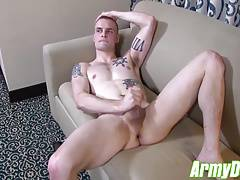 Colton using dildo while jacking off