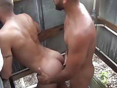 Horny Bareback Session 04 - Fuck in shower room outdoor - HD