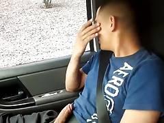 Horny hunks in car 16