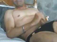 Daddy stroking cock