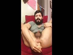 Bearded daddy with a dildo