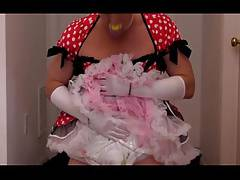 diapered sissy in pretty red dress fullfilling a bet .....