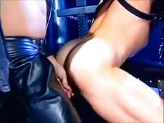 Hot leather fucking and sucking in the cage