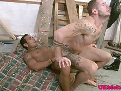Rimming muscular hunk assfucking inked bottom