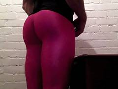 Office Desk Slut In Hot Pink Spandex Leggings