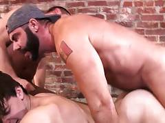 Boy gets his ass fucked by 2 hunks.