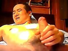 Asian dude stroking