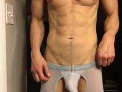 Erotic underwear bulge hardon webcam show