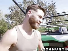 Big dick hunks barebacking and hammering in car garage
