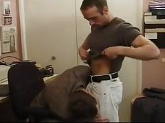 Gay guys take a break from work for sex