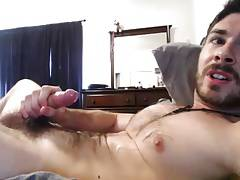 Hairy Muscle Hunk Cums for Fans