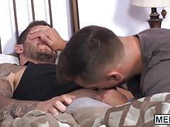 Tattooed stud plowed doggy style wildly