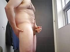Public Bathroom Masturbation - Slow-Motion cumshot!