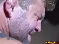 Beefy muscle deepthroating before analsex