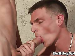 Uk scally rimmed while blowing cock in trio