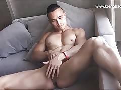 Asian Jock Stroking His Cock