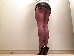 Cumshot in pvc wet look mini skirt
