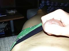 A little jerk in green pants with a little precum