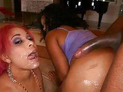 2 black chicks share a big black cock