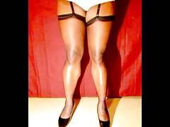 TGirl Black Stocking Legs 322