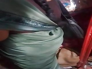 SATIN SILK SAREE AUNTY BACK