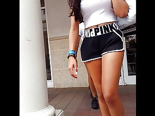 Candid hiddencam teenager loose gym cut-offs best legs desi