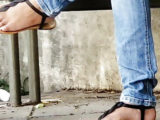 Candid teenager indian soles in sandals