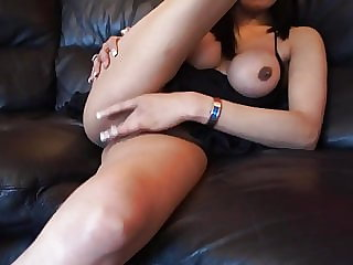 Indian torrid wifey in high-heeledshoes jerking with a black faux-cock