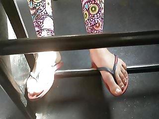 Teenage woman soles on public bus