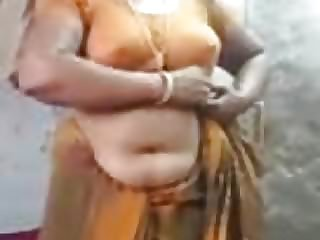 Satin Silk Saree Saraswathi Aunty naked