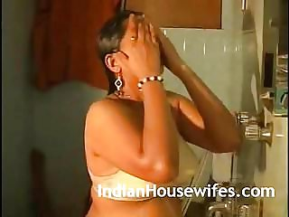 Torrid Indian Bhabhi Taking Douche In Underwear