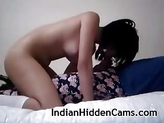 Young Indian Duo Gargling Poking In Bedroom