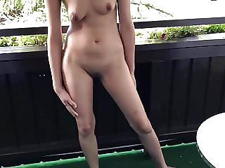 Nude On The Hotel Balcony At The Nature Mountain Village
