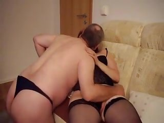Tucking a faux-cock in my woman's bun